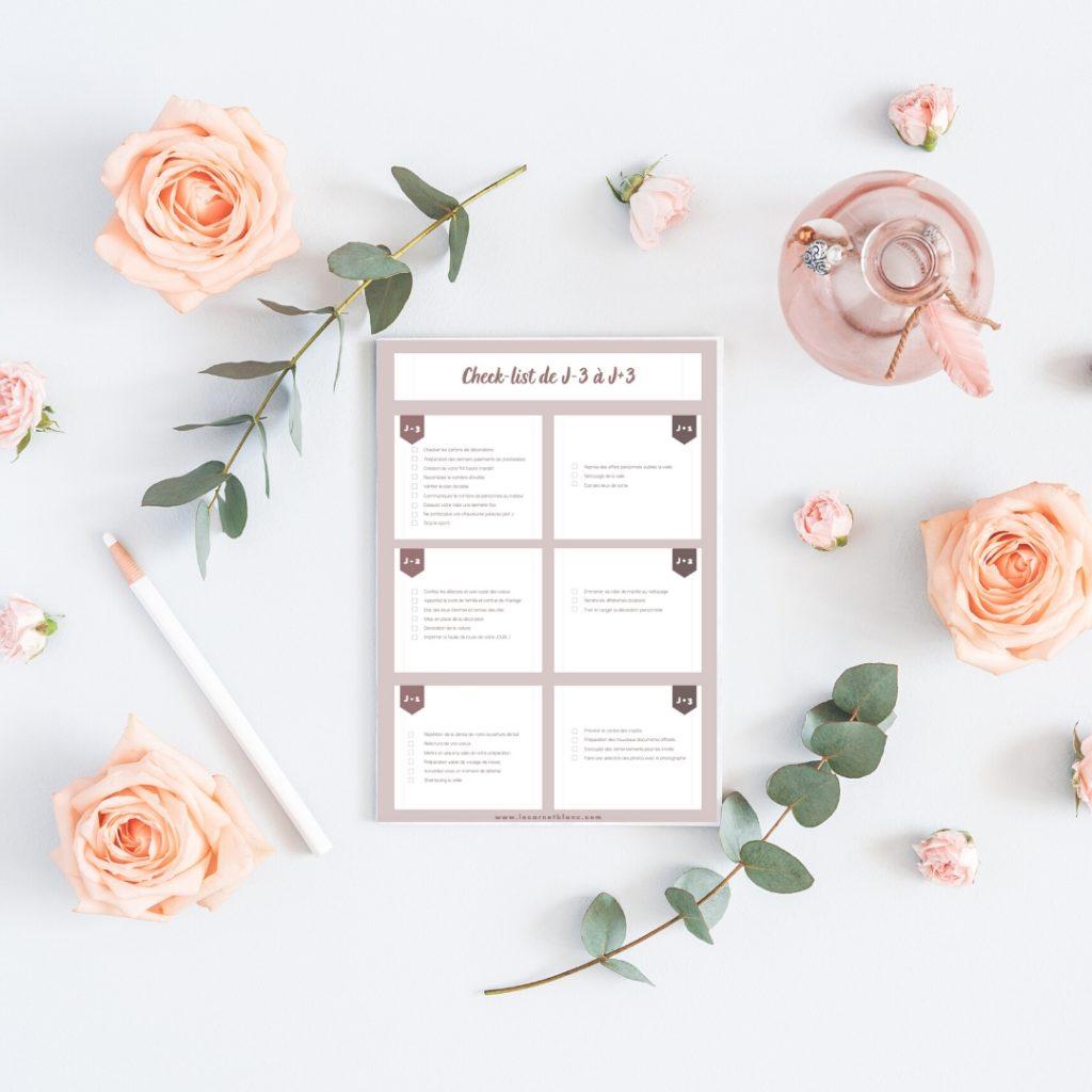 un planning préparatif check-list de J-3 à J+3 - Blog mariage - Le Carnet Blanc