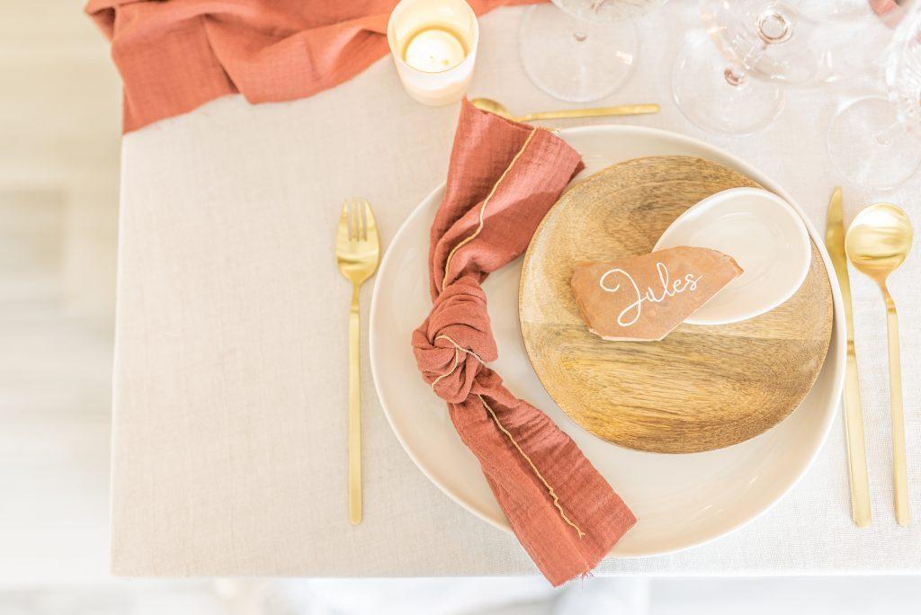 Mariage Chic terracotta et doré